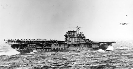 USS Hornet launches Army Air Force B-25B bombers (National Archives)
