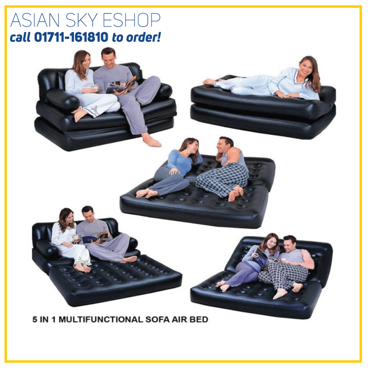 5 in 1 Double Sofa Cum Bed Black with Free Electric Auto Pumper