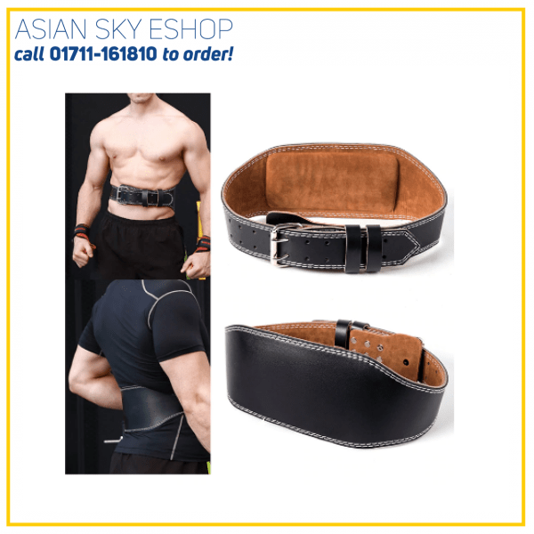 Black Leather 6″ Weight Lifting Belt Back Training Support Gym Fitness Exercise Bodybuilding