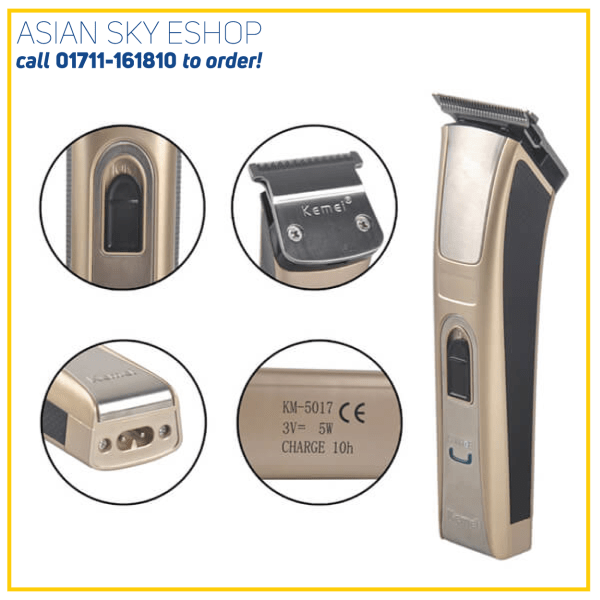 Kemei KM-5017 Rechargeable Hair Clipper And Trimmer-Gold & Black