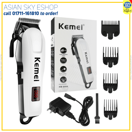 Kemei KM-809A Digital Electric Rechargeable Professional Hair Clipper Trimmer