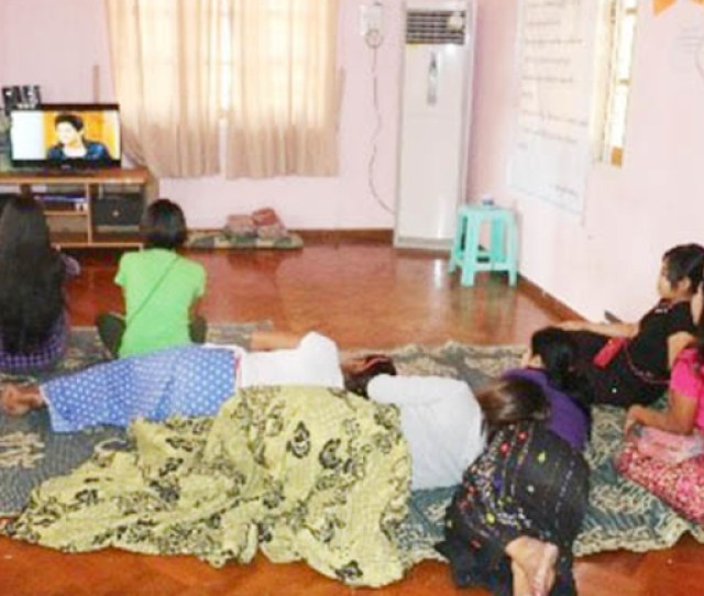 Zin Zin And Her Peers Watch A Tv Show At A Sex Workers In Myanmar Center