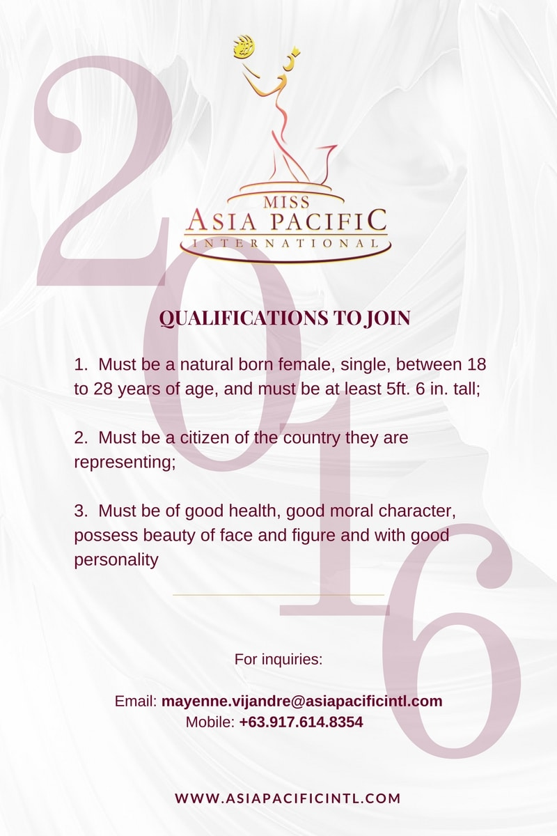 qualifications miss asia pacific international