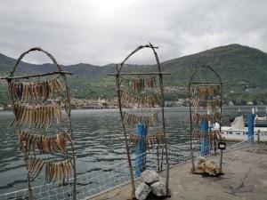 Atrapa nad brzegiem jeziora prezentująca jak suszone są ryby