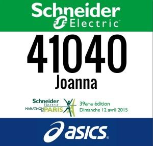 Numer startowy Schneider Electric Marathon de Paris