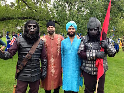 Australia Day Parade 2015 at Melbourne - Jusbir Singh (second, left) with his son Manroshan SIngh