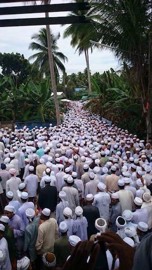 The gathering at the funeral of Nik Aziz at a mosque in Kota Bharu, Kelantan.