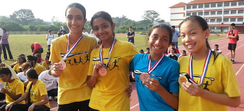 Group B Girls winners at the Sri Dasmesh International School cross country 2015