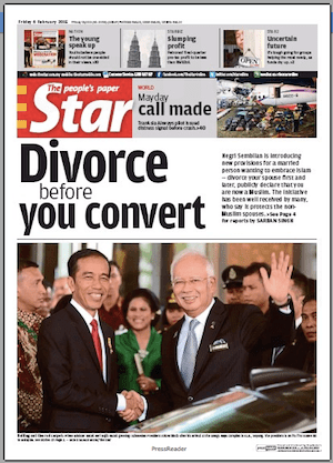 The Star front page (6 Feb 2015) on Negri Sembilan decision on married converts to Islam - divorce first, then convert