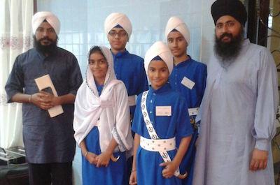 Group C winners Gurmat Sangeet Jatha with their kirtan master Bhai Surjeet Singh (extreme left) - PHOTO BALVINDER SINGH