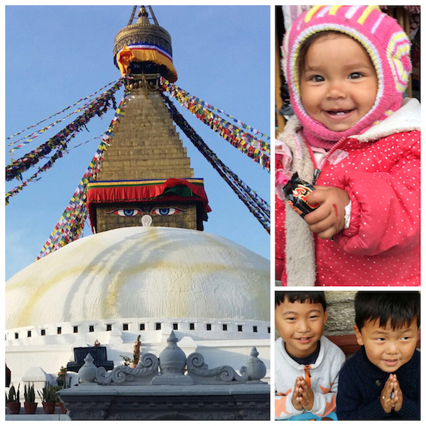 IN THEIR GLORY: Let us remember temples and monuments in their glory. Boudhanath Stupa (left). FUTURE: The future generation of Nepal in prayer while having a taste of modernisation - PHOTO SARJIT KAUR