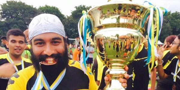 Former Perak hockey team captain Jaswinder Singh holding the Gurdwara Cup champion's trophy. Perak emerged overall champions for the first time in the cup's 64 year history
