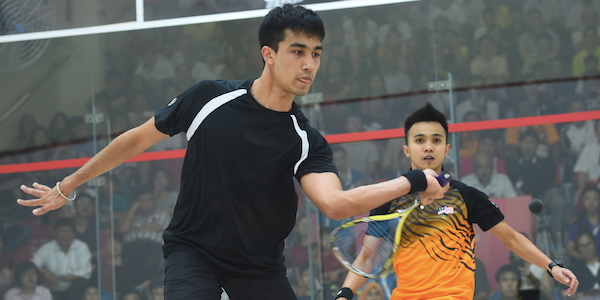 Sanjay in action during the single men's finals.