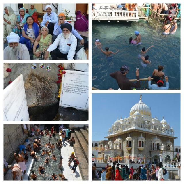 Clockwise (from top left): 1. Karanveer Singh on the right. 2. Pilgrims bathing in sarowar at the entrance to the panja of Guru Nanak to the right. 3. Gurdwara Panja Sahib. 4. Sarowar. 5. The panda (hand print) of Guru Nanak - PHOTOS COURTESY OF DAWN
