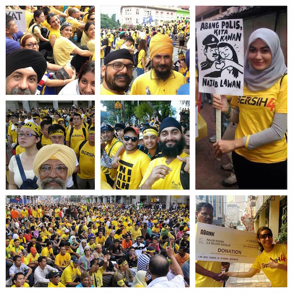 Sikhs at the Bersih 4 rally in Kuala Lumpur yesterday. Photos from various social media sources. - ASIA SAMACHAR COLLAGE