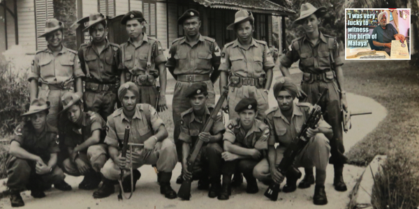 Pertab Singh (holding gun, squatting third form left) during a weapons training in Taiping, Perak, in 1955. The other turbaned soldier is Waryam Singh.