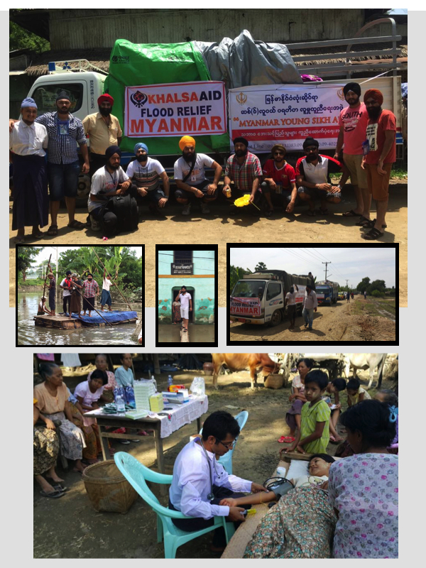 Myanmar Young Sikh Aid in action to deliver relief and medical aid to flood victims in Myanmar. - PHOTOS FROM Myanmar Young Sikh Aid FACE BOOK