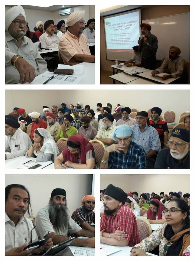 Snaps from the research report presentation. Top right: KDM president Bagh Singh welcoming participants, flanked by CMSO secretary general Autar Singh (left) and treasurer Tarlochan Singh Dhaliwal. Bottom left: Key presenters comprising (L-R) Dr Ahmad Tarmizi Talib, Dr Sarjit and Dr Puvaneswaran. Bottom right: Dr Jaspal (left ) and Dr Charanjit Kaur. - PHIOTOS ASIA SAMACHAR