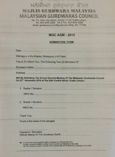 Nomination form for delegates to the Malaysian Gurdwaras Council (MGC) annual meeting on 21 Nov 2015.