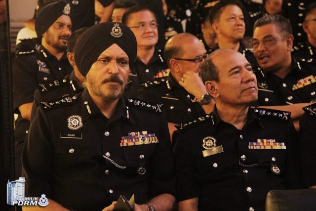 Amar Singh at pinning the rank ceremony on 19 Feb 2016. Amar, who is now Kuala Lumpur chief police officer, took on the rank of a police commissioner, a first for a Sikh cop in Malaysian police history. In the next row is Baljeet Singh who was promoted to the rank of Assistant Commissioner of Police (ACP) - PHOTO / PDRM