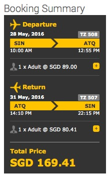 Scoot lower-end pricing for Singapore-Amritsar, as checked by Asia Samachar