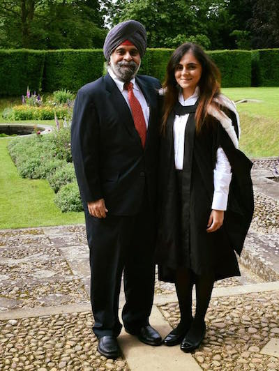 Rashvin Kaur with her dad Inderjit Singh, former Singapore MP and entrepreneur - PHOTO / RASHVIN FACEBOOK