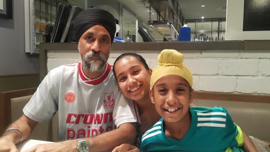 Prahlaad (right) with his dad Avtar Singh Khosa and sister