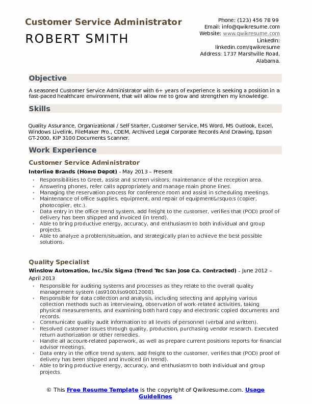 sample resume for billing administrator