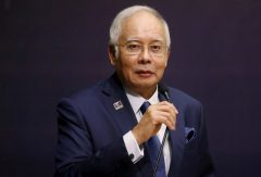 Malaysia's Prime Minister Najib Razak speaks at the opening of a conference in Kuala Lumpur