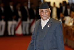 K.P. Oli arrives for prime ministerial election at the parliament in Kathmandu