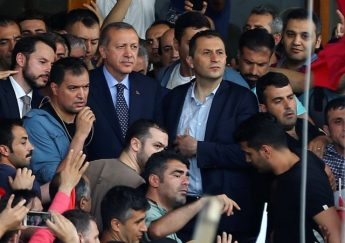 urkish President Erdogan is seen amid his supporters at the Ataturk Airport in Istanbul