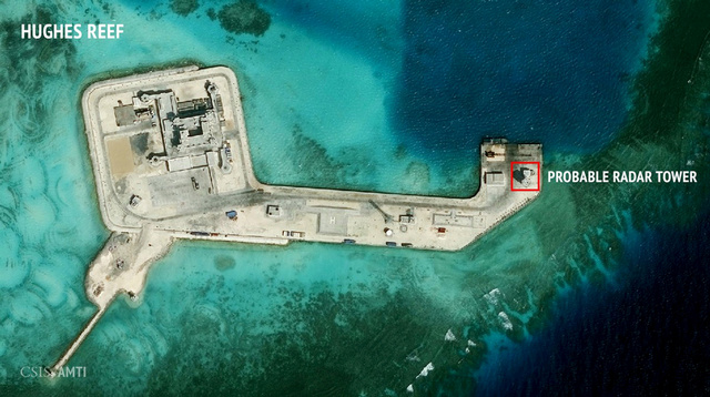 A satellite image showing construction of possible radar tower facilities in the Spratly Islands in the disputed South China Sea in this image released in Feb 2016. Photo: CSIS Asia Maritime Transparency Initiative/ DigitalGlobe/ Handout via Reuters