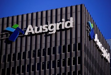 The logo for Australia's biggest electricity network Ausgrid adorns the headquarters building in central Sydney