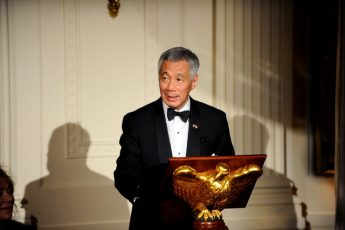 Singapore Prime Minister Lee Hsien Loong makes remarks during a State Dinner at the White House in Washington