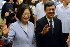 Taiwanese President Tsai Ing-wen and Vice President Chen Chien-jen, right, wave to the media during a event celebrating Journalist Day in Taipei in August 2016.  Photo: Reuters/Fabian Hamacher