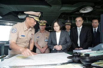Taiwan's President Tsai Ing-wen visits a La Fayette-class fridate at a naval base in the southern county of Kaohsiung, Taiwan