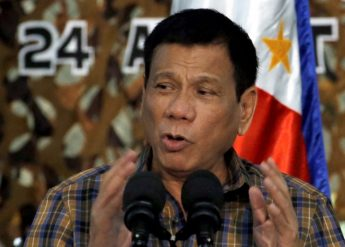 Philippine President Rodrigo Duterte speaks before soldiers during a visit at Capinpin military camp in Tanay, Rizal in the Philippines