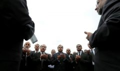 Lawyers say prayers for colleagues who were killed in the suicide bomb attack at a hospital in Quetta on Monday, outside the Supreme Court in Islamabad