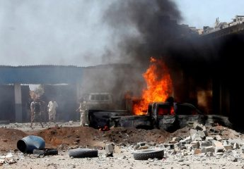 A view of the scene following a car bomb attack in al-Gharbiat in Sirte