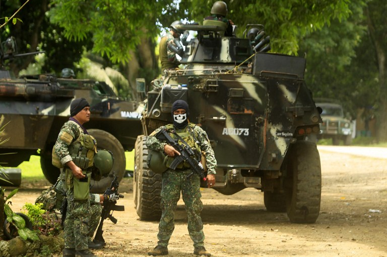 Philippine soldiers inside a military camp in Jolo, Sulu province, on the southern island of Mindanao, as they prepare for an operation against the Abu Sayyaf group. Photo: AFP/Mark Navales