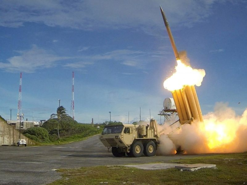 A Terminal High Altitude Area Defense (THAAD) interceptor during a successful intercept test, in this undated photo provided by the US Department of Defense. Handout via Reuters