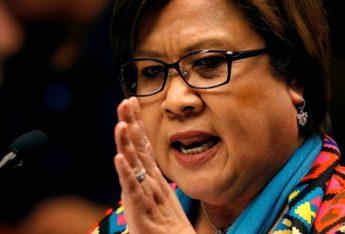 Philippine Senator Leila de Lima delivers a privilege speech at the Senate in Pasay city, Metro Manila