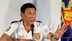 Duterte speaks during a news conference in Davao