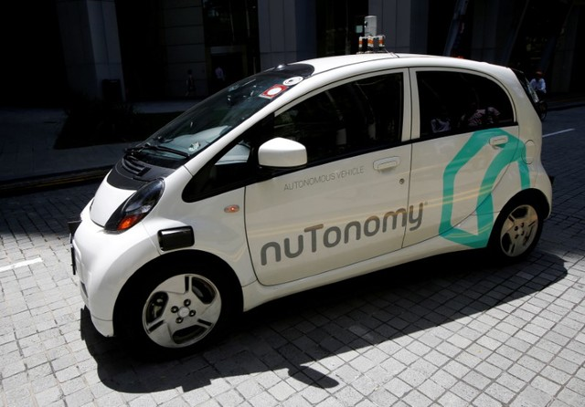 A nuTonomy self-driving taxi undergoes a public trial in Singapore on August 25, 2016. Photo: Reuters/Edgar Su/File Photo