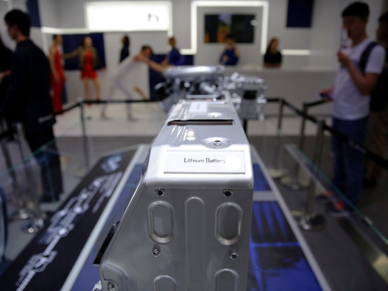 A lithium battery pack for the auto industry seen at a Lexus booth during the Auto China 2016 show in Beijing. Photo: Reuters
