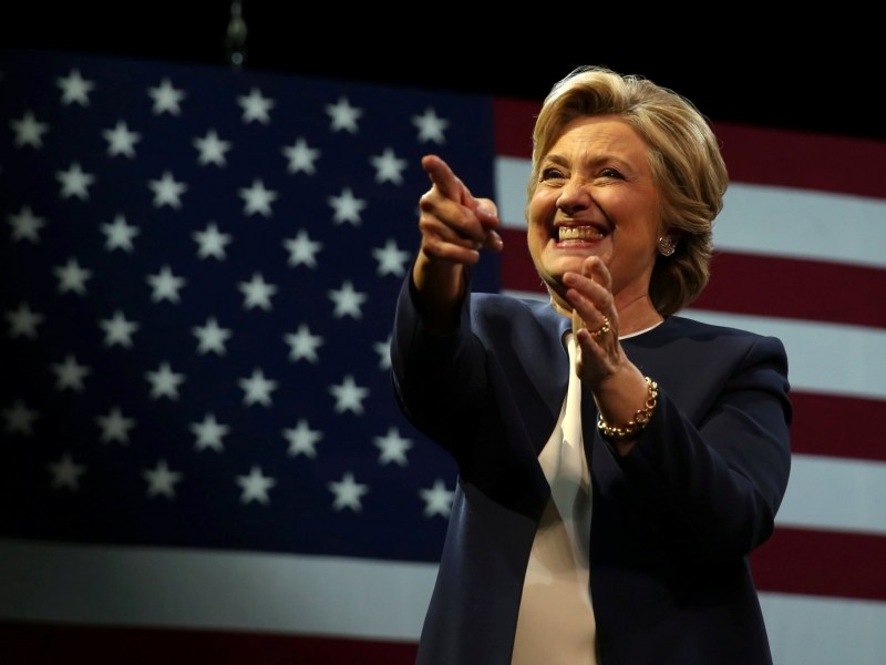 US Democratic presidential nominee Hillary Clinton greets the crowd after speaking at a fundraiser in San Francisco. Photo: REUTERS/Lucy Nicholson