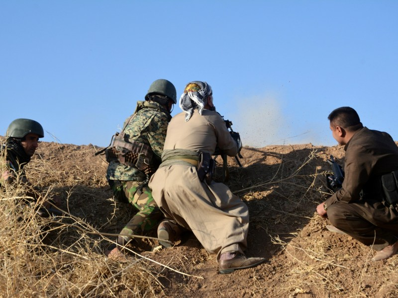 Peshmerga forces in the east of Mosul attack Islamic State targets. Photo: REUTERS/Stringer