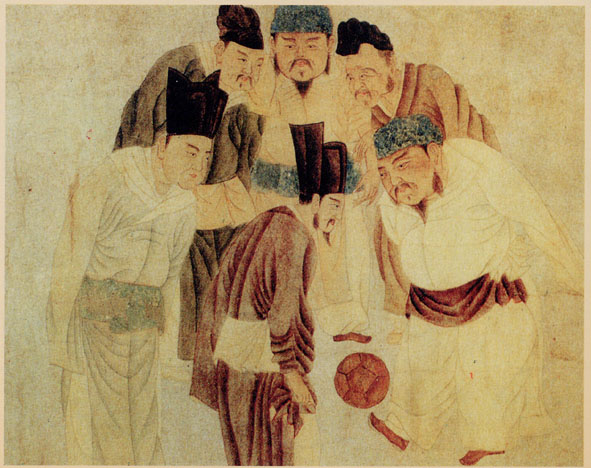 Invented here? Chinese interest in football goes back nine centuries as illustrated in this painting depicting Emperor Taizu Song playing cuju (i.e. Chinese football) with his prime minister Zhao Pu and other ministers, by the Yuan dynasty artist Qian Xuan (1235–1305). Wikimedia Commons.