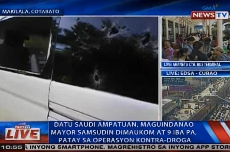 A bullet riddled vehicle involved in the gunfight between a group of 10 men, including mayor Samsudin Dimaukom of the Philippine town of Datu Saudi Ampatuan, and police. All 10 men were killed in the firefight as they refused to stop at a checkpoint. Photo: YouTube/GMA TV screen grab