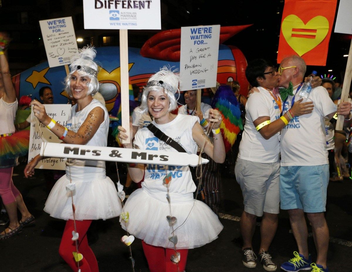 Proponents of gay marriage are pictured at a Sydney Gay and Lesbian Mardi Gras parade. REUTERS/Jason Reed